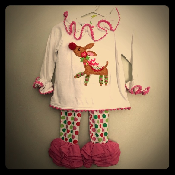 a796806d65dee Mud Pie Rudolph Ruffle Holiday Outfit. M 5c78123a534ef99258d776c5